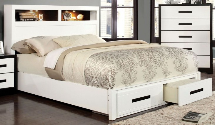 Rutger White and Black Queen Storage Bed