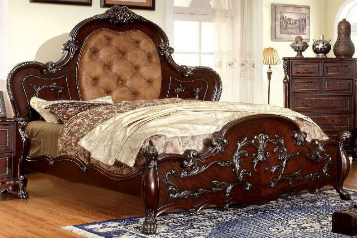 Castlewood Cherry Queen Upholstered Panel Bed