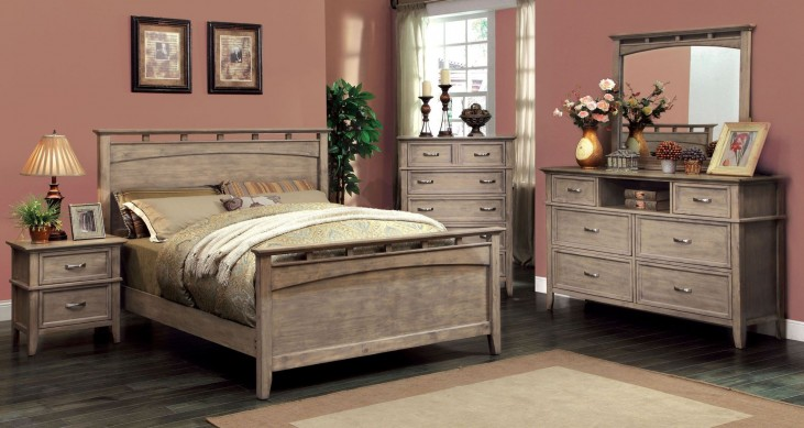 Loxley Weathered Oak Panel Bedroom Set