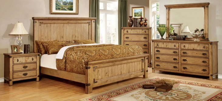 Pioneer Burnished Pine Platform Bedroom Set