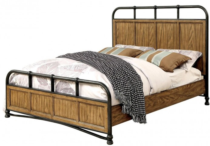 Mcville Dark Oak Queen Panel Bed