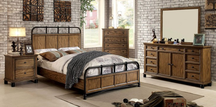 Mcville Dark Oak Panel Bedroom Set