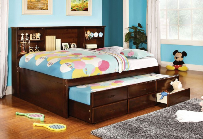 Hervey Espresso Captain Full Trundle Storage Bed