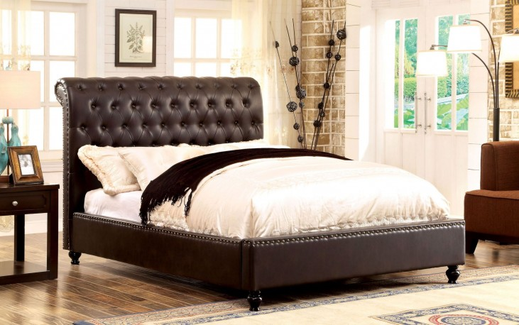 Bennett Brown Queen Tufted Bed