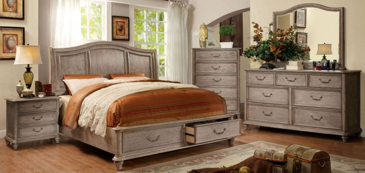 Belgrade I Rustic Natural Tone Platform Storage Bedroom Set