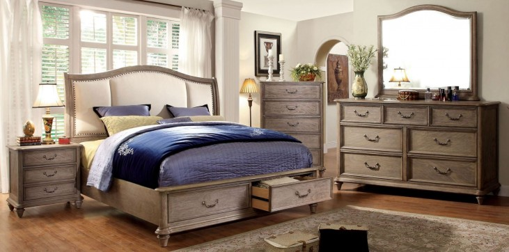 Belgrade I Rustic Natural Tone Upholstered Platform Storage Bedroom Set