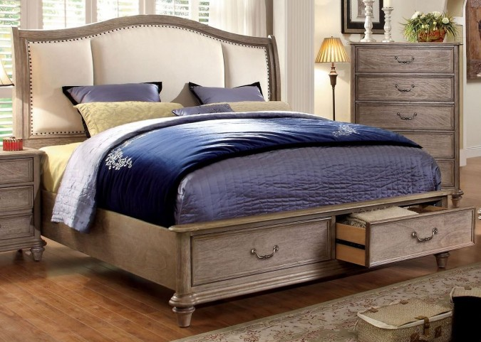 Belgrade I Rustic Natural Tone Upholstered Cal. King Platform Storage Bed