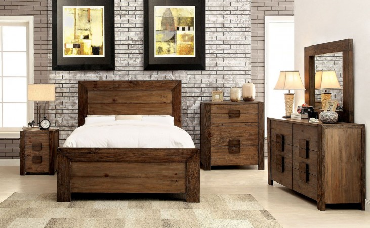 Aveiro Rustic Natural Panel Bedroom Set