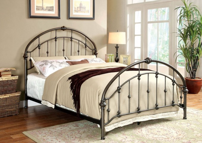 Carta Brushed Bronze Queen Panel Bed