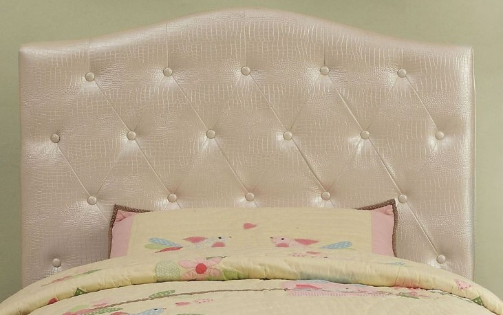 Calpas White Crocodile Leatherette Twin Headboard