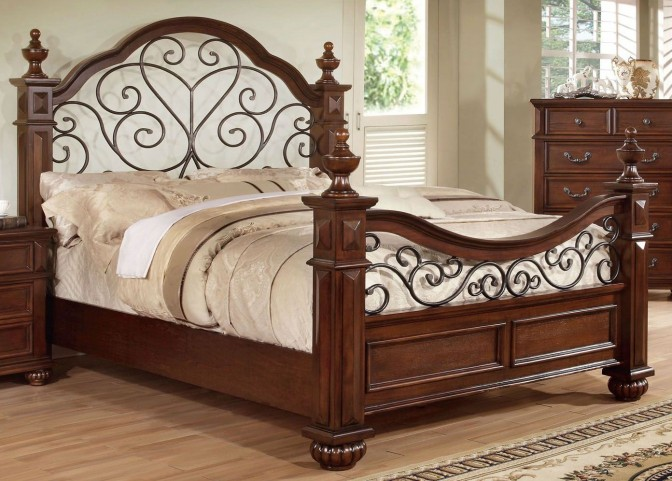 Landaluce Antique Dark Oak Queen Poster Bed