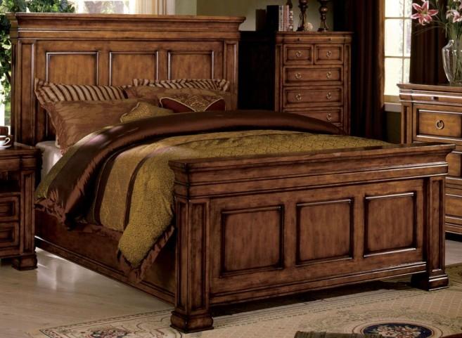 Cambridge Rich Tobacco Oak Queen Panel Bed