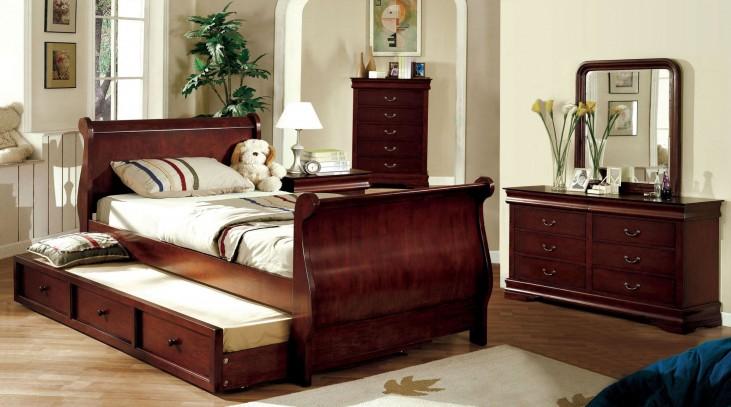 Louis Philippe Jr. Dark Cherry Youth Trundle Sleigh Bedroom Set