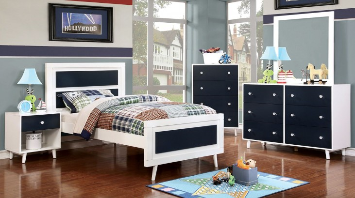 Alivia Youth Blue And White Platform Bedroom Set