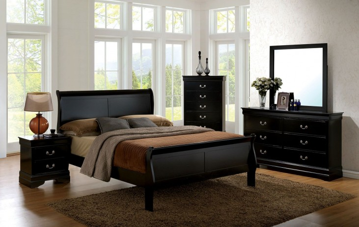 Louis Philippe III Black Panel Bedroom Set
