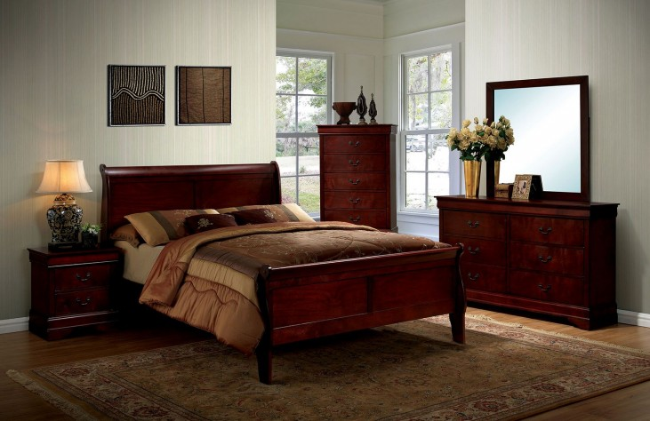 Louis Philippe III Cherry Panel Bedroom Set