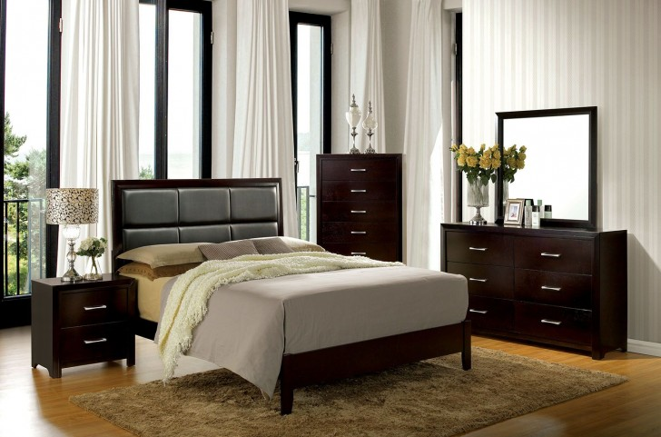 Janine Espresso Upholstered Platform Bedroom Set