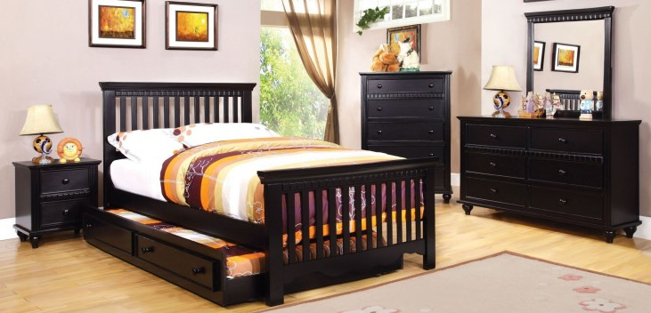 Caspian Black Youth Panel Bedroom Set