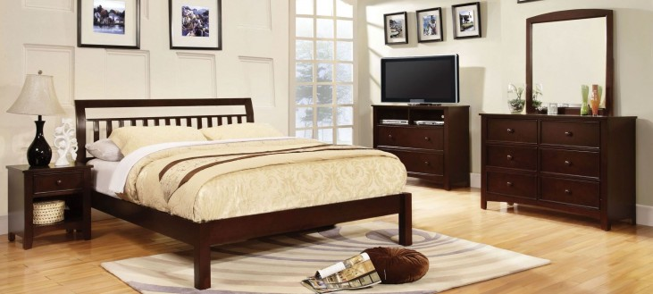 Corry Dark Walnut Platform Bedroom Set