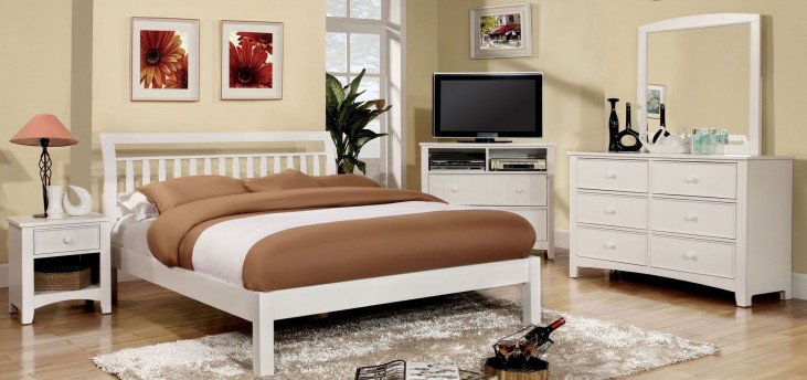 Corry White Platform Bedroom Set