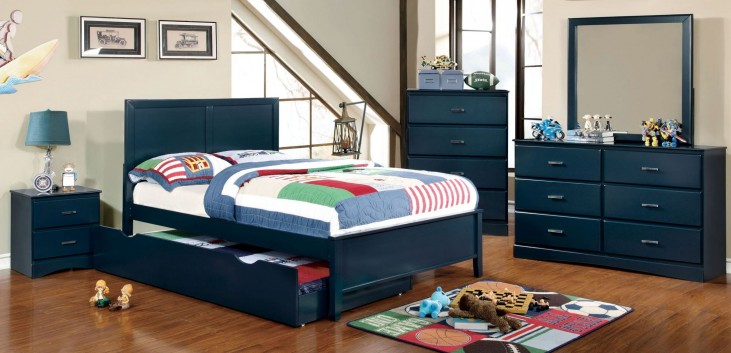 Prismo Blue Youth Platform Bedroom Set