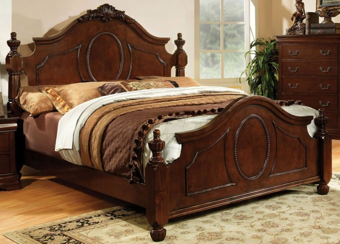 Velda II Brown Cherry Queen Panel Bed