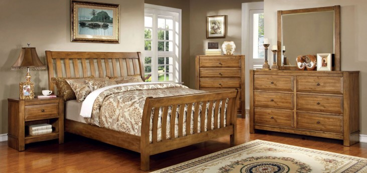 Conrad Rustic Oak Sleigh Bedroom Set
