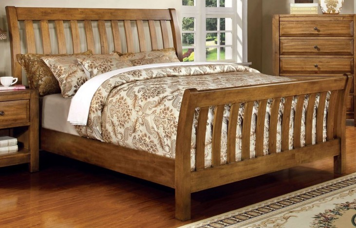 Conrad Rustic Oak King Sleigh Bed