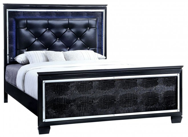 Bellanova Black Queen Upholstered Panel Bed