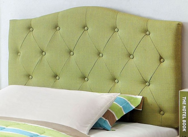 Alipaz Green Flax Fabric Twin Size Headboard