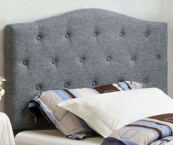Alipaz Gray Flax Fabric Twin Size Headboard