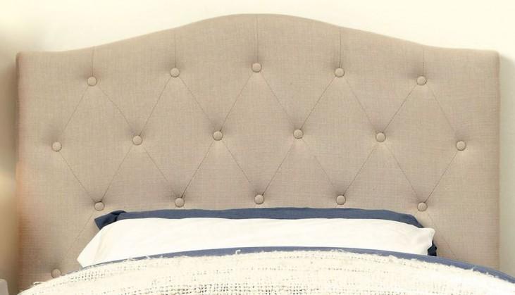 Alipaz Ivory Flax Fabric Twin Size Headboard