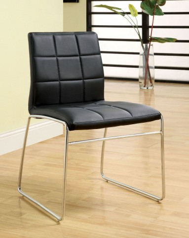 Oahu Black Leatherette Side Chair Set of 2