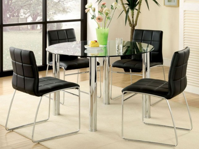 Kona I Glass Top Round Leg Dining Room Set