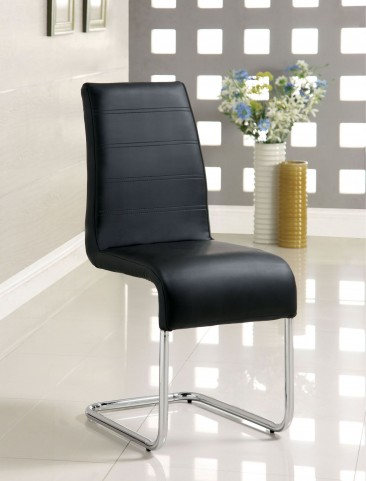 Glenview Black Leatherette Side Chair Set of 2