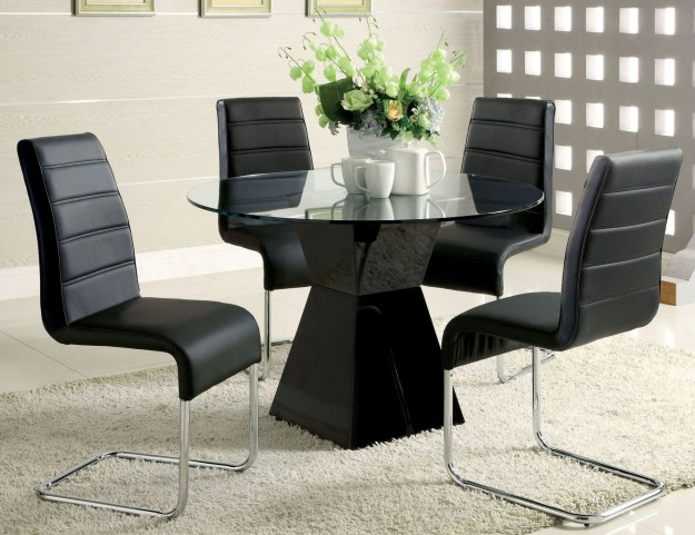 Mauna Black Glass Top Round Pedestal Dining Room Set