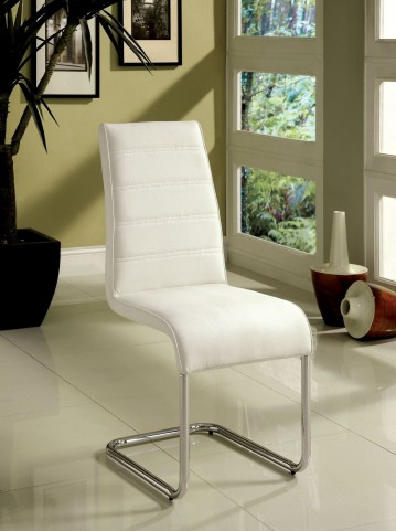 Glenview White Leatherette Side Chair Set of 2