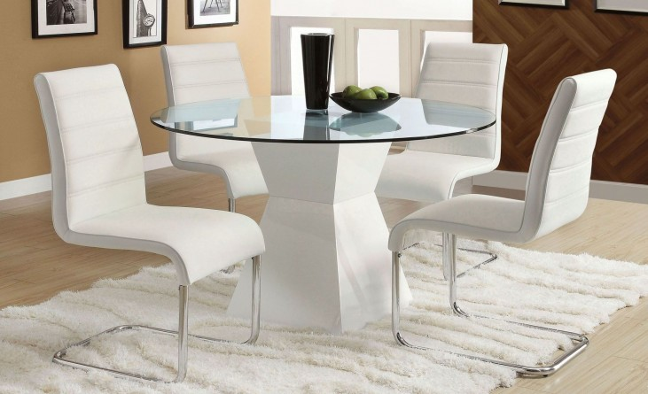 Mauna White Glass Top Round Dining Room Set