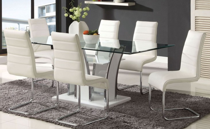 Glenview White Glass Top Dining Room Set