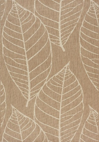 Coast Brown/Cream Fossil Leaves Flatweave Medium Rug