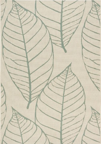 Coast Cream/Blue-Gray Fossil Leaves Flatweave Medium Rug