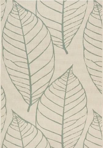 Coast Cream/Blue-Gray Fossil Leaves Flatweave Small Rug