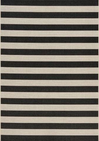 Coast Black and Cream Stripes Flatweave Medium Rug