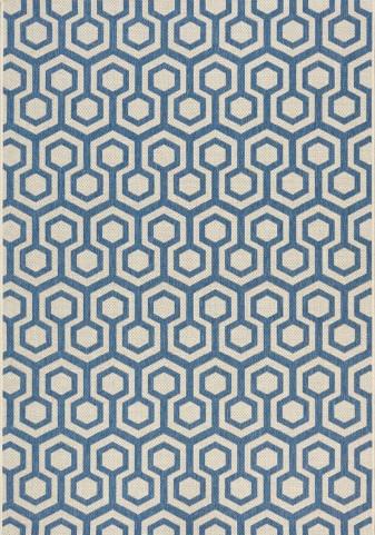 Coast Navy/Beige Honeycomb Flatweave Medium Rug