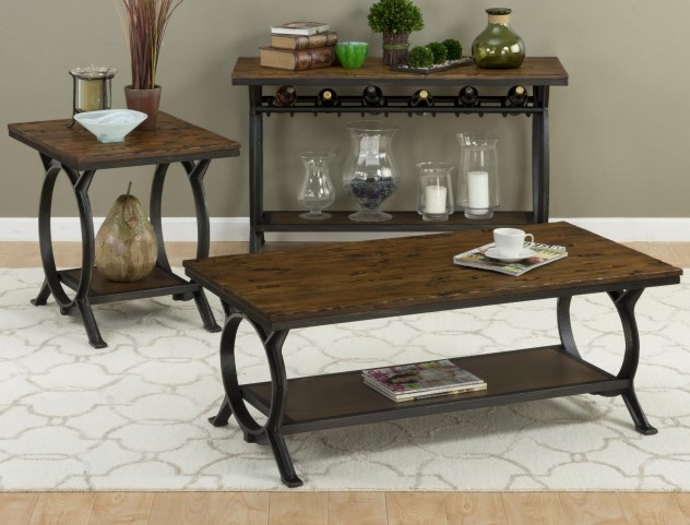 Harper's Press Dark Rustic Pine Occasional Table Set