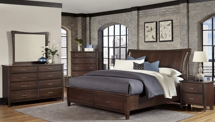 Commentary Cherry Wing Panel Storage Bedroom Set