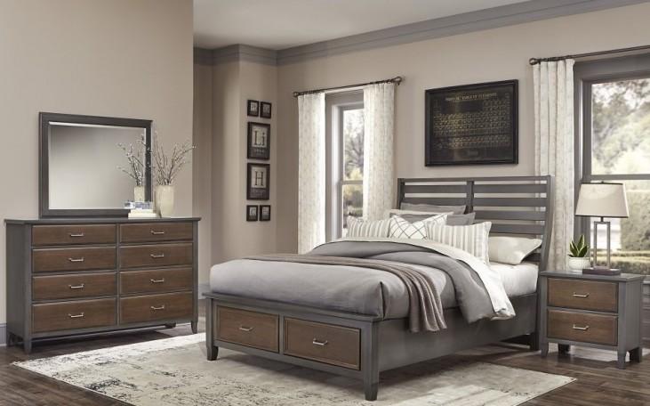 Commentary Steel And Oak Benchback Storage Bedroom Set