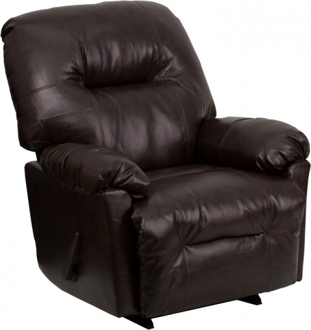 Bentley Brown Leather Chaise Rocker Recliner