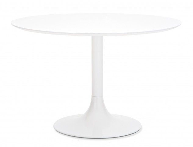 Corona White Glass Round Table