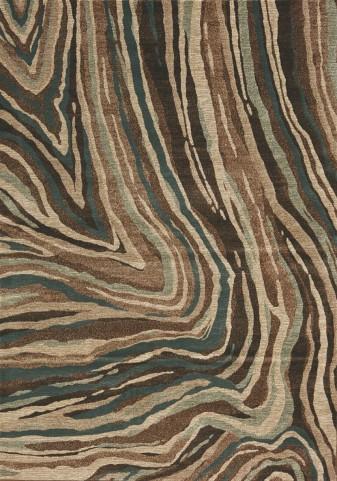 Cozumel Blue/Brown Wave Medium Rug